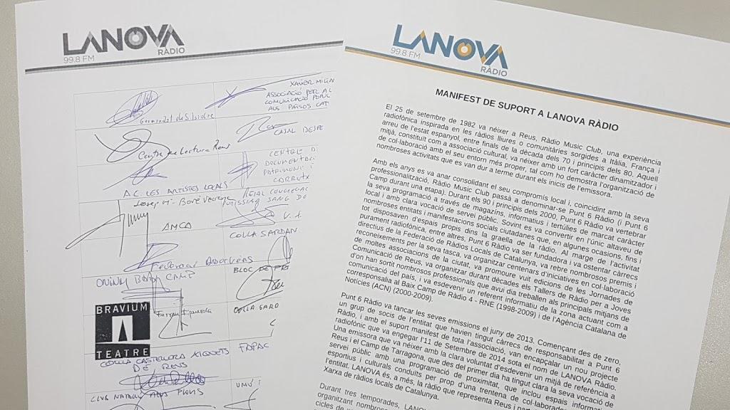 L'Ajuntament de Reus i més d'una cinquantena d'entitats reclamen que LANOVA Ràdio torni a l'FM el més aviat possible