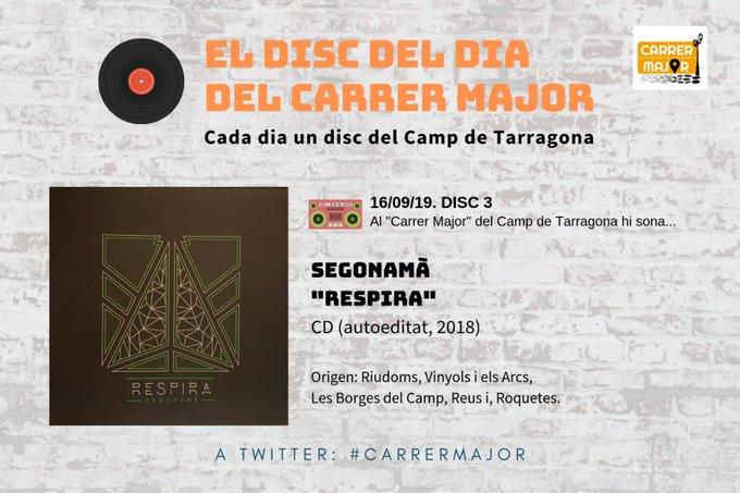 """🔊 El disc del dia del Carrer Major. 03: Segonamà """"Respira"""" (2018)"""