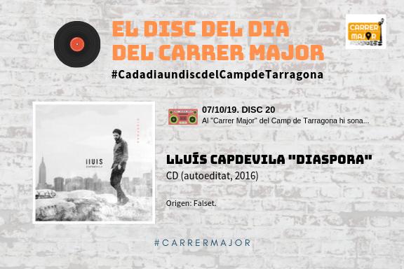 """🔊 El disc del dia del Carrer Major. 20: Lluís Capdevila """"Diaspora"""" (2016)"""