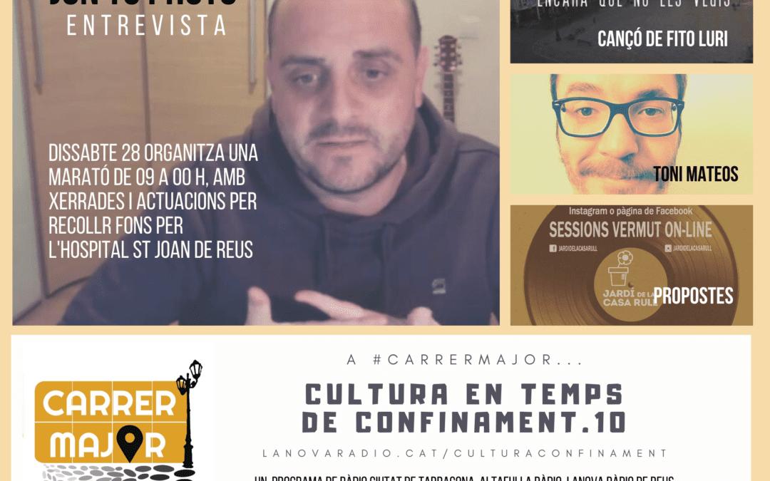 🔊 Cultura en temps de confinament. 10: nova cançó de Fito Luri, coneixem una marató solidària de xerrades i espectacles amb Jon TC Photo, xerrem amb Toni Mateos i repassem diferents projectes i l'agenda