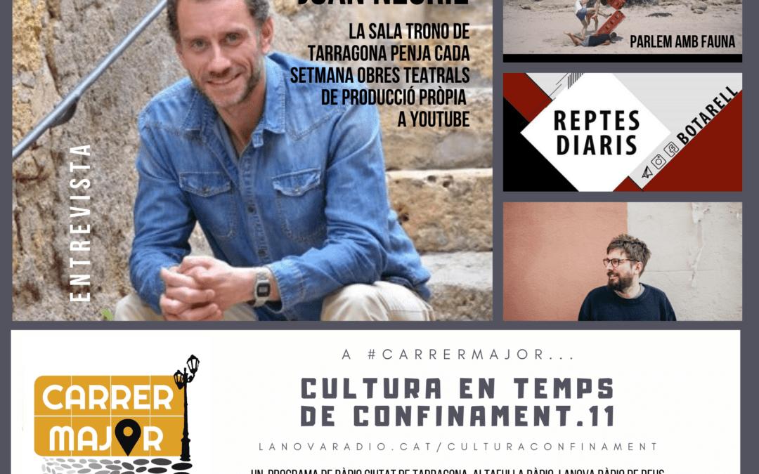 🔊 Cultura en temps de confinament. 11: entrevista als Fauna de Falset i a Joan Negrié de la Sala Trono de Tarragona, i escoltem Pau Vallvé