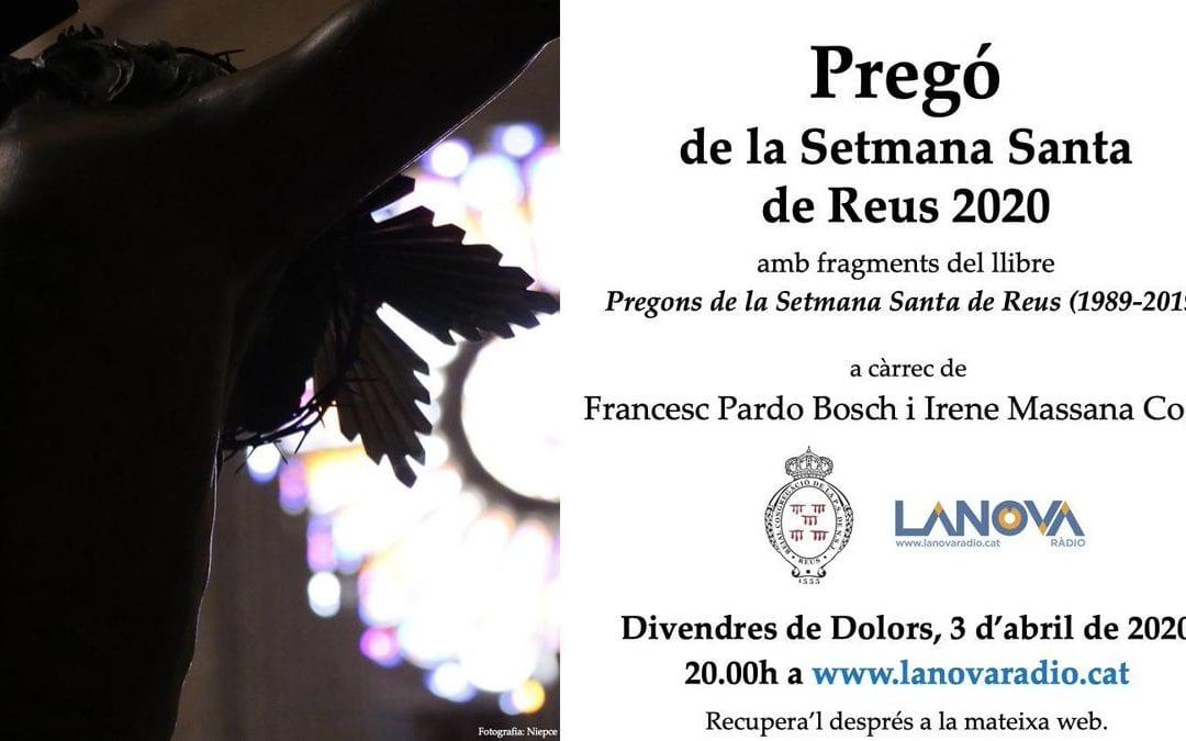 El Pregó de la Setmana Santa de Reus, enguany només a través de LANOVA Ràdio