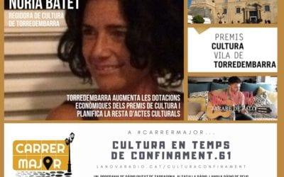 🔊 Cultura en temps de confinament. 61: entrevista a Núria Batet, regidora de Cultura de Torredembarra, i versió de Jarabe de Palo de Joan Rovira